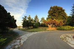 公园和古老砖墙 免版税库存照片