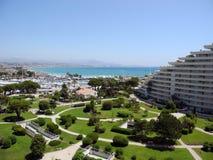 公园和海,维伦纽夫Loubet,彻特d'Azur 免版税图库摄影