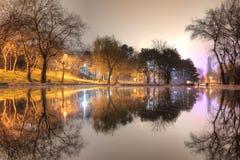 公园和湖的夜视图 免版税库存照片