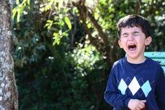 公园哭泣的男孩 图库摄影