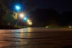 公园在与灯的晚上 免版税库存照片