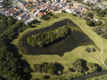 公园在库里奇巴,巴拉那,巴西 鸟瞰图Tingui公园 库存图片