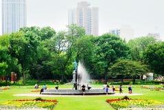 公园在林肯公园音乐学院外面在芝加哥,伊利诺伊 库存照片