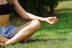 公园实践的瑜伽的妇女户外 免版税库存图片