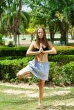 公园实践的瑜伽的妇女户外 免版税库存照片
