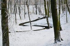 公园小河的看法在加里宁格勒 33c 1月横向俄国温度ural冬天 免版税库存照片