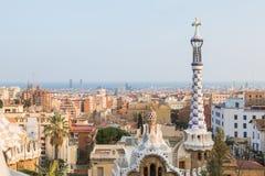从公园看的巴塞罗那都市风景Guell 库存照片