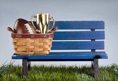 公园长椅和橄榄球 图库摄影