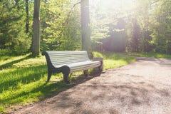 公园长椅在秋天 免版税图库摄影