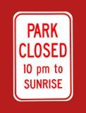 公园闭合的标志 免版税图库摄影