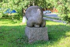公园雕塑木松鸡由花岗岩制成 库存照片