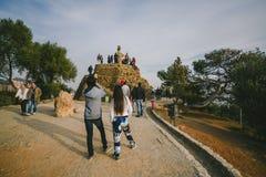公园Guel在巴塞罗那,西班牙 图库摄影