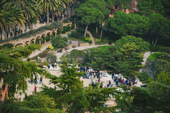 公园Guel在巴塞罗那,西班牙 免版税库存图片