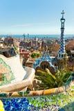 公园Guell在巴塞罗那,西班牙。 免版税图库摄影