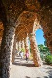 公园Guell在巴塞罗那,西班牙。 免版税库存图片