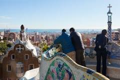 公园Guell的片段在冬天 免版税库存图片
