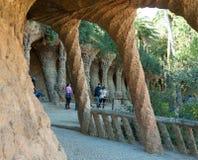 公园Guell看法在巴塞罗那 库存图片