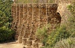公园Guell细节在巴塞罗那,西班牙 图库摄影