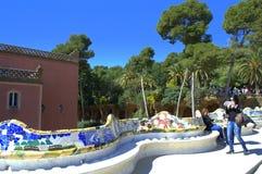 公园Guell长凳,巴塞罗那 免版税库存照片
