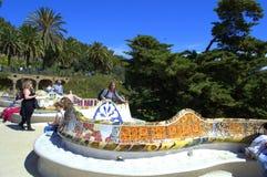 公园Guell长凳,巴塞罗那 库存照片