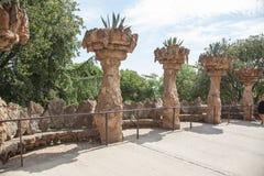 公园Guell高架桥在巴塞罗那,西班牙 免版税库存照片