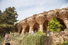 公园Guell高架桥在巴塞罗那,西班牙 免版税图库摄影