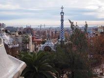 从公园Guell,巴塞罗那的看法 免版税库存照片