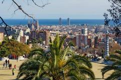 从公园Guell巴塞罗那,西班牙的看法 免版税图库摄影
