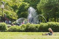 公园Mariatorget Sodermalm斯德哥尔摩 免版税图库摄影