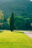 公园Milocer,别墅,海滩女王/王后 在Sveti附近斯蒂芬海岛在黑山 库存图片