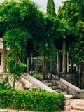 公园Milocer,别墅,海滩女王/王后 在Sveti附近斯蒂芬海岛在黑山 图库摄影