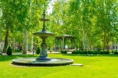 公园Zrinjevac在萨格勒布,喷泉 库存图片