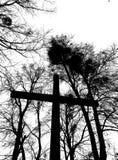 公墓参观 在黑白的艺术性的神色 免版税库存照片