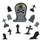 公墓向墓碑坟园扔石头 免版税库存照片