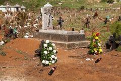 公墓在圣胡安Chamula,恰帕斯州,墨西哥 免版税库存照片
