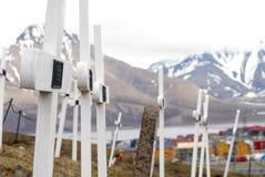 公墓在朗伊尔城,斯瓦尔巴特群岛 免版税库存照片
