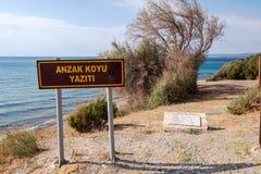 公墓海滩全景在安扎克小海湾的在Gallipoli盖利博卢canakkale火鸡海滩公墓 库存照片