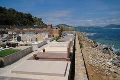 公墓看法在圣特罗佩,法国 免版税库存照片