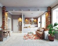 公寓内部现代 免版税库存照片