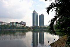公寓在河内,越南住宅区  免版税库存图片