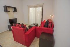 公寓客厅展示家的室内设计 免版税库存图片