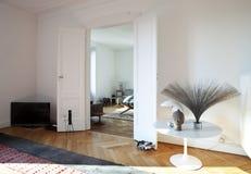 公寓居住的好的被整修的空间视图 免版税库存照片