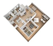 公寓平台面视图、家具和装饰,计划,短剖面室内设计,建筑师设计师概念想法,白色backgro 库存例证