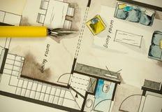 公寓平的楼面布置图水彩和墨水徒手画的略图用一个美好的鸟嘴染黄笔杆 免版税图库摄影