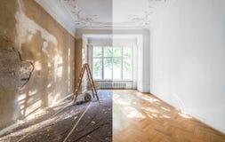 公寓整修-在refurbishmen前后的空的室 免版税库存照片