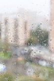 公寓湿玻璃窗看法  免版税库存图片