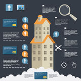 公寓的企业infographic建筑平的设计的 库存例证