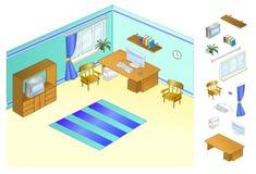 公寓的内部 家庭办公 由窗口的计算机书桌 登记设计员摄影师 设计工作区域 免版税库存照片