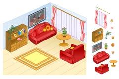 公寓的Nterior 有角正餐内部客厅沙发无盖货车 有枕头、椅子和咖啡桌的软的沙发由大窗口 舒适大气生活 免版税图库摄影