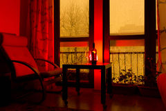从公寓窗口看的冬天场面 库存照片